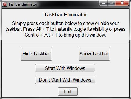 Taskbar Eliminator full screenshot